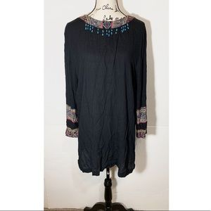 Carole Little Textured Beaded Blouse Aztec